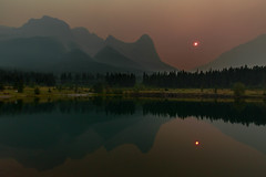 Quarry Lake with smoke-filled skies (Adrian Zissos) Tags: canmore forestfiresmoke