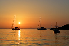 Sunset (marija.njegomir) Tags: sunset sea water boat greece sivota syvota