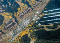 September 28, 2015 - The U.S. Air Force Thunderbirds fly over Telluride and its fall colors. (USAF Thunderbirds)