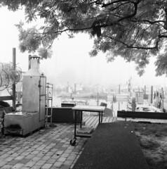 Smoke Oven (holtelars) Tags: mamiya mamiyac330 tlr twinlensreflex twinlens mamiyasekor 65mm f35 6x6 square squareformat film analog analogue bw rollei rolleirpx rolleirpx400 400iso d76 gossen lunasix3 classicblackwhite larsholte filmforever filmphotography mediumformat blackandwhite monochrome outdoor homeprocessing jobo atl1500 autolab denmark danmark morning mist marina nivå c330professional 120 c330 120film