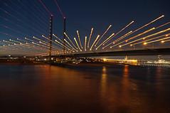 ...fire! (PLADIR) Tags: longexposure bridge river lights nacht outdoor sony nightscene brücke fluss düsseldorf rhein lichter nachtaufnahme rheinkniebrücke rheinbrücke flus sonya57 slta57