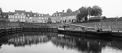 Heusden series #2 (PIVAMA|photography) Tags: auto old houses bw panorama white black reflection tree cars car architecture boot boat ship boom autos zwart wit oude architectuur huizen reflectie schip