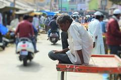 Introspective? (bluelotus92) Tags: india man streets market roads cart karnataka mysore introspective mysuru devarajursmarket devarajaursmarket manonacart