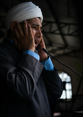 a shiite turkmen imam making the prayer call in a mosque, Golestan Province, Karim Ishan, Iran (Eric Lafforgue) Tags: portrait people man male men vertical beard religious hands worship call singing adult iran muslim islam traditional faith prayer religion pray praying middleeast voice ears mosque communication indoors microphone shia turban speak prayers masjid oneperson mullah imam shiite prayercall turkmen gorgan midadultman golestanprovince persiangulfstates muezzin  onemanonly waistup  16373 colourimage 1people  iro torkaman shiism  westernasia  gomishan karimishan