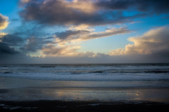 a break in the storm at sunset (j j miller) Tags: ocean california ca sunset storm reflection beach rain clouds coast dusk lowtide cloudporn hwy1 californiacoast pomponio statebeach pomponiostatebeach