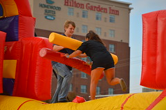 Going for the takedown (radargeek) Tags: bouncethetown okc oklahomacity downtown bricktown inflatables 2016 november