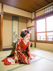 Maiko girl sitting in tatami room for greetings *explored* (Apricot Cafe) Tags: img637953 20s asian asianethnicity canonef2470mmf28liiusm japan japaneseethnicity kimono kyoto lypsekyo16 maiko beautiful brilliant femininity gion girls happiness hospitality indoors lifestyle oneperson people portrait serenity smile traditional traveldestinations walking women youngadult