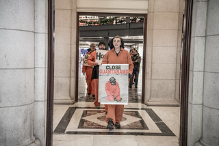 Erica Ewing Leads an Anti-Torture Demonstration Out of Union Station