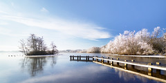 Winterpoel (zsnajorrah) Tags: nature water frozen ice reflection jetty pier island trees frost winter sky bluesky clouds concours wideangle ultrawideangle uwa x4cpl 7dmarkii efs1018mm netherlands amstelveen amsterdamsebos poel depoel explore