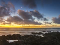 Hawaiian Crescent Moon Sunrise (RobertCross1 (off and on)) Tags: 1250mmf3563mzuiko em5 hawaii hawaiikai honolulu longexposure omd oahu olympus pacificocean sandybeach beach bluehour clouds landscape lava moon seascape sunrise surf tidepool