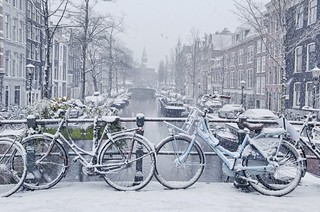 Snowflakes falling at the Bloemgracht of Amsterdam