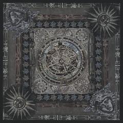 Original astrolabe pattern silk scarf (Kotomi_) Tags: astrolabe dark silk georgette etsy listing scarf digitalprint ondemandprint contrado