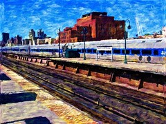 MetroNorth RR (Professor Bop) Tags: professorbop drjazz metronorthcommuterrailroad nyc newyorkcity train railroad rail tracks railroadtracks harlem 125thstreet manhattan railway impressionism