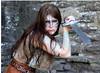 Rowena (threejumps) Tags: woman girl beautiful beauty wales pretty sword warrior celtic welsh facepaint woad warriorwoman woadwarrior