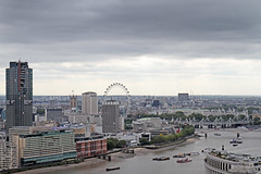 London Eye (Garrett Rock) Tags: city uk greatbritain england urban london weather thames clouds view cloudy britain stpauls september observatory vista ferriswheel wren christopherwren stpaulscathedral overlook riverthames westend cityoflondon eyeoflondon vantagepoint centrallondon churchofengland sirchristopherwren toppoint thamesrivermarchitecture
