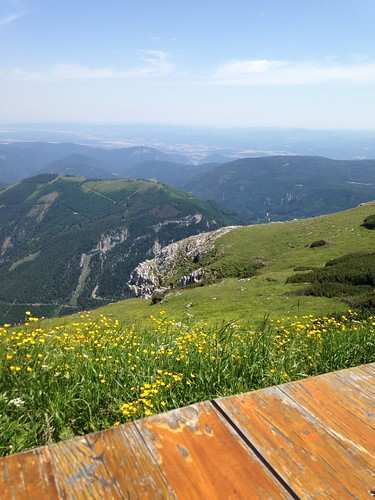 View from a restaurant at the top of the Schneeberg in Austria