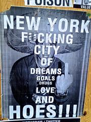 New York Fucking City, New York, NY (Robby Virus) Tags: street city nyc newyorkcity ny newyork art love fucking manhattan finger wheatpaste paste drugs dreams goals sombrero middle bigapple hoes