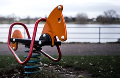 Boredom (PaulKanone) Tags: autumn cold fall water leaves playground zeiss court germany bonn outdoor sony boredom 55mm hobbyhorse 18 rhine rockinghorse tristesse 2015 alpha7