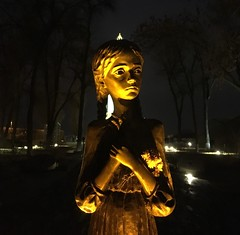 Little Girl Lost (Roblawol) Tags: park trees history girl statue memorial europe darkness ukraine remembrance kiev neverforget kyiv famine iphone holodomor dnieperriver eternalglorypark