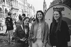 Fringe trio (ABulimia159) Tags: black white film photography decisive moment 50 mm lens street candid people photos ramsay garden edinburgh international festival playfair steps nikon scotland national gallery waverley high castle st giles rsa mound royal mile princes rose sir walter scott monument trip uk square east gardens robert b mcneill ricoh grd 1v lefteyed scottish