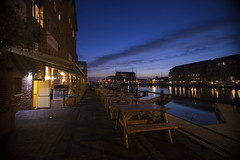After hours (Roger.C) Tags: gloucester gloucestershire docks dark night longexposure warehouse water waterfront dusk bluehour bluesky bench tranquil peaceful nikon d610 sigma1020 sky timeexposure wideangle