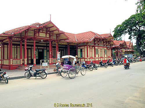 Hua Hin Railway Station in 2010 and the then quiet road outside it, Hua Hin, Prachuap Khiri Khan Province, Thailand.