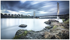 Eleanor Schonell at dusk (JakaPH Photography) Tags: landscape brisbane queensland qld australia city water river clouds cloudy colour color cityscape long exposure lee little stopper nd filter 6 10 16 bridge architecture dusk sunset rocks