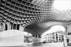 under urban skies (lunaryuna) Tags: seville spain architecture modernarchitecture structure metropolparasol lascetas urbanabstract lunaryuna blackwhite bw monochrome