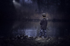 Deep Contemplation (Phillip Haumesser Photography) Tags: philliphaumesser blue boy child dark kid magical mysterious mystical nature night play playing snow sony water winter
