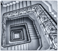 It's been a while since I posted some stairs (katrin glaesmann) Tags: hamburg germany stairs wendeltreppe treppenauge eye spiralstaircase photowalkwithmichael fotowalkmitmichael fotowalkmitmichio treppe tiles banister alsterhaus kontorhaus 1902 ballindamm rambatzundjollasse monochrome blackandwhite