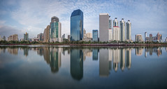 Reflection (fredMin) Tags: panorama skyscraper building bangkok thailand benjakiti lake reflection fujifilm xt1