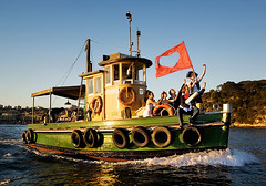 tug of love (Paul Gosney) Tags: love musicians boat heart flag sydney band australia nsw tugboat balmain sydneyharbour coda paulgosney
