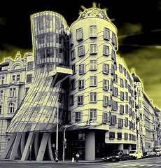 It dances, it glows. (Ms Kat) Tags: photoshop prague praha dancingbuilding mrowrr