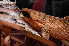 Copper Salmon (lawatha) Tags: fish art fountain metal salmon copper fishladder metalart