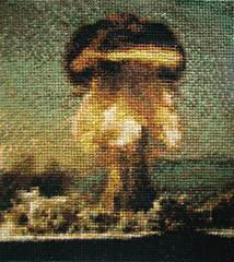 Atom bomb cross stitch (cadmiumred) Tags: crossstitch nuclear bomb