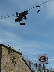 Shoes in the air (tiny_tear) Tags: eastlondonline lastsunday shoreditchtube