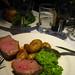 Lamb chump, potatoes and peas