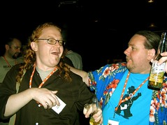 Christian and Norm Dancing(?) (Jan Brana) Tags: party england london corona marknormanfrancis atmedia sugarreef atmedia2006 christianheilmann atmedia06 thehairofchristianheilmann upcomingevent48899