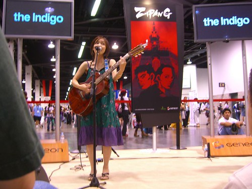 The Indigo perform at the Geneon booth at AX 2006.