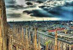 View from the Spires (Trey Ratcliff) Tags: city sky italy milan clouds geotagged italia milano duomo hdr geolat4546429356031786 geolon9191321736348963