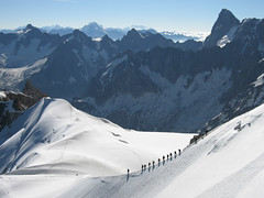 Walkers proceeding to La Vallee Blanche (WhiteGoldWielder) Tags: mountain alps de du midi blanche chamonix aiguille vallee aguille jul06