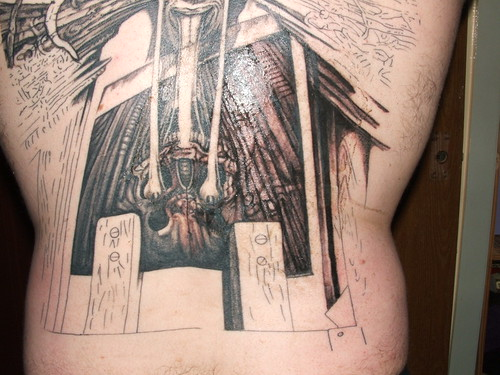 hr giger tattoo. H.R.Giger 4th tattoo session