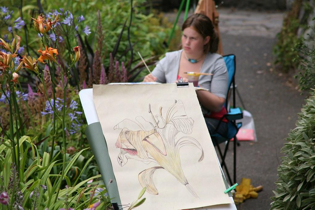 ARTIST AT WORK IN BOTANIC GARDENS