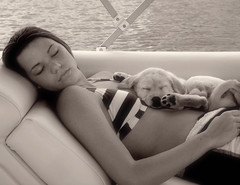 dreamers (mbrinamen) Tags: ocean county sleeping blackandwhite bw girl puppy boat top20bw mix gabby sleep sandy nj chow jersey labradorretriever napping cousin barnegatbay cmcaug06
