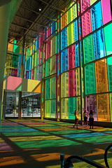 Blaze of Colour (caribb) Tags: lighting pink blue windows light canada green beautiful rose yellow wow effects intense whimsy colorful colours montral quebec montreal qubec mauve colourful conventioncentre palaisdescongrsdemontral