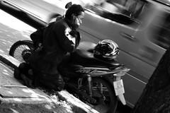 Urgent call (kktp_) Tags: bw d50 nikon traffic bangkok telephone nikkor motercycle 50mmf14d primelens 123bw