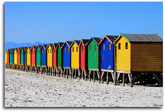 huts-colourful (francoisNZ) Tags: blue red green beach yellow canon southafrica 350d town huts cape francois colourful beachhuts muizenberg abigfave francoisnz