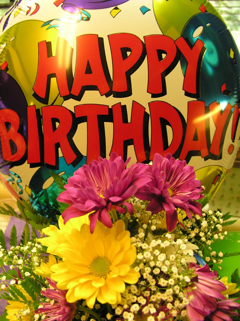 happy birthday flowers and balloons pictures  flower, Beautiful flower
