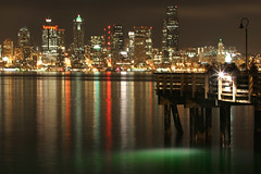 Fishing in Seattle (A Sutanto) Tags: seattle city longexposure urban usa night lights washington fishing alkibeach wa