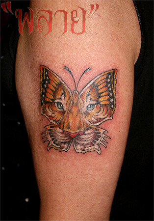 Tattoo by Plai's tattoo : butterfly-tiger 2006